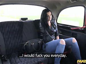 fake cab dark-haired enjoys to exercise on sausage